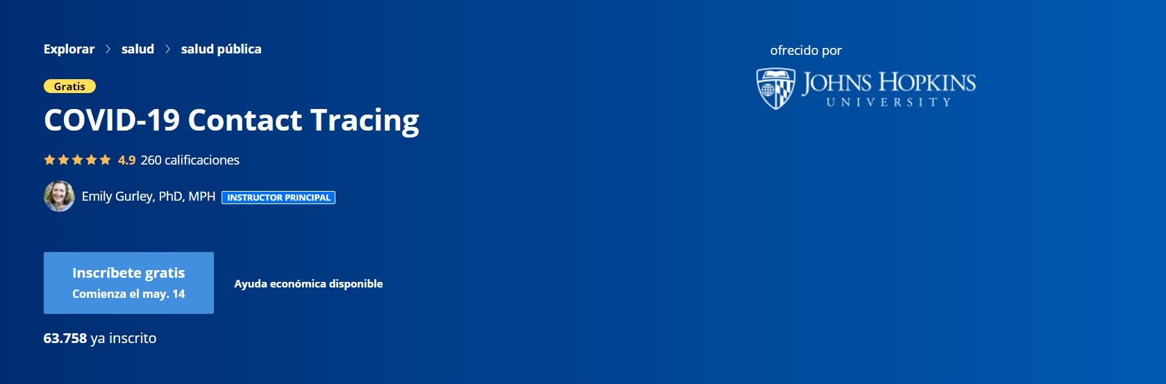La portada de acceso al curso online que ofrece Johns Hopkins para aprender la tarea que realizan los rastreadores de contacto.