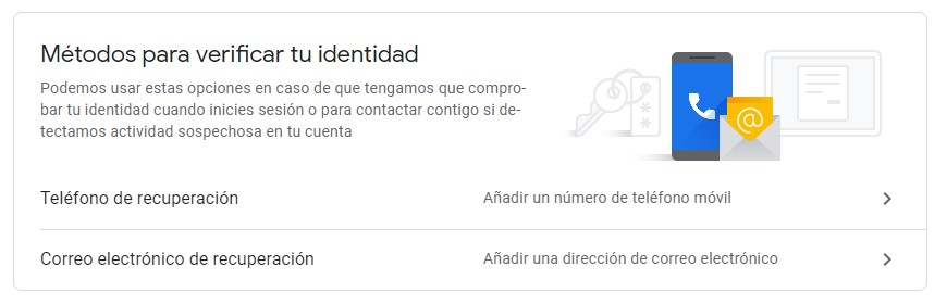 El número de teléfono y un correo electrónico alternativo pueden ser útiles para recuperar la cuenta. Foto: Captura Google