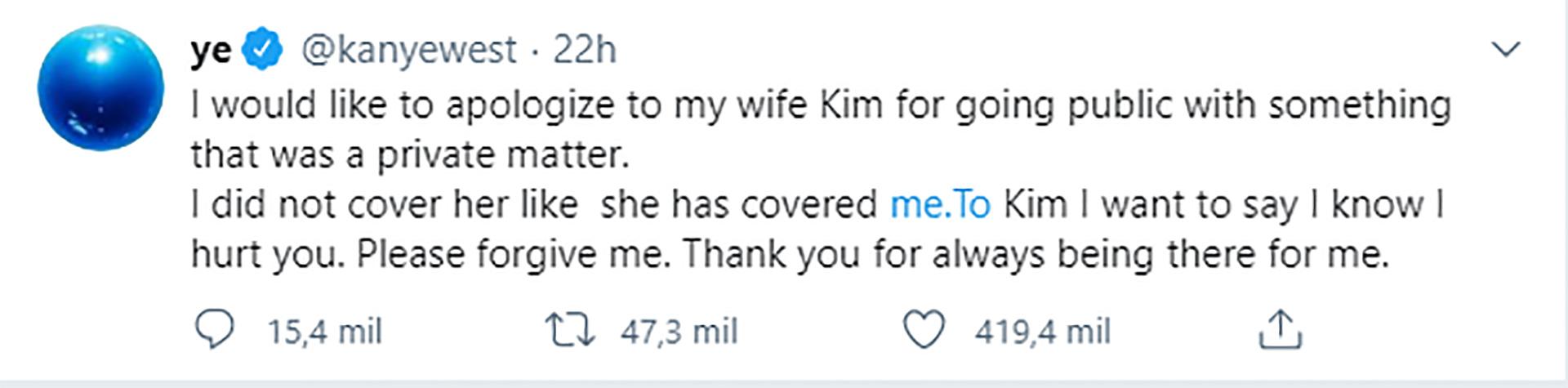 El pedido de disculpas de Kanye West a Kim Kardashian