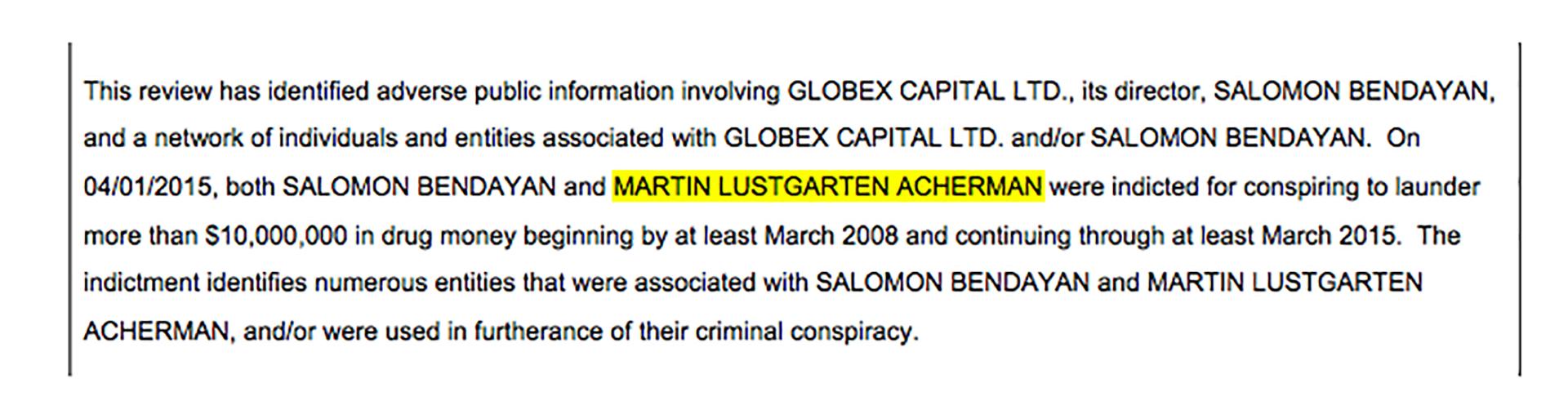 Para la fecha en la que se emitió el SAR que destaca la operación de A&L Services con el fondo de Marynberg, ya Lustgarten había sido detenido por la Justicia de Estados Unidos, como se destaca este documento confidencial.