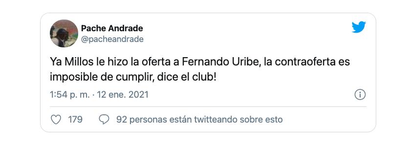 Des complications pour parvenir à un accord économique entre Millonarios et Fernando Uribe compliquent l'arrivée de l'attaquant colombien au club des ambassadeurs / (Twitter: @pacheandrade).