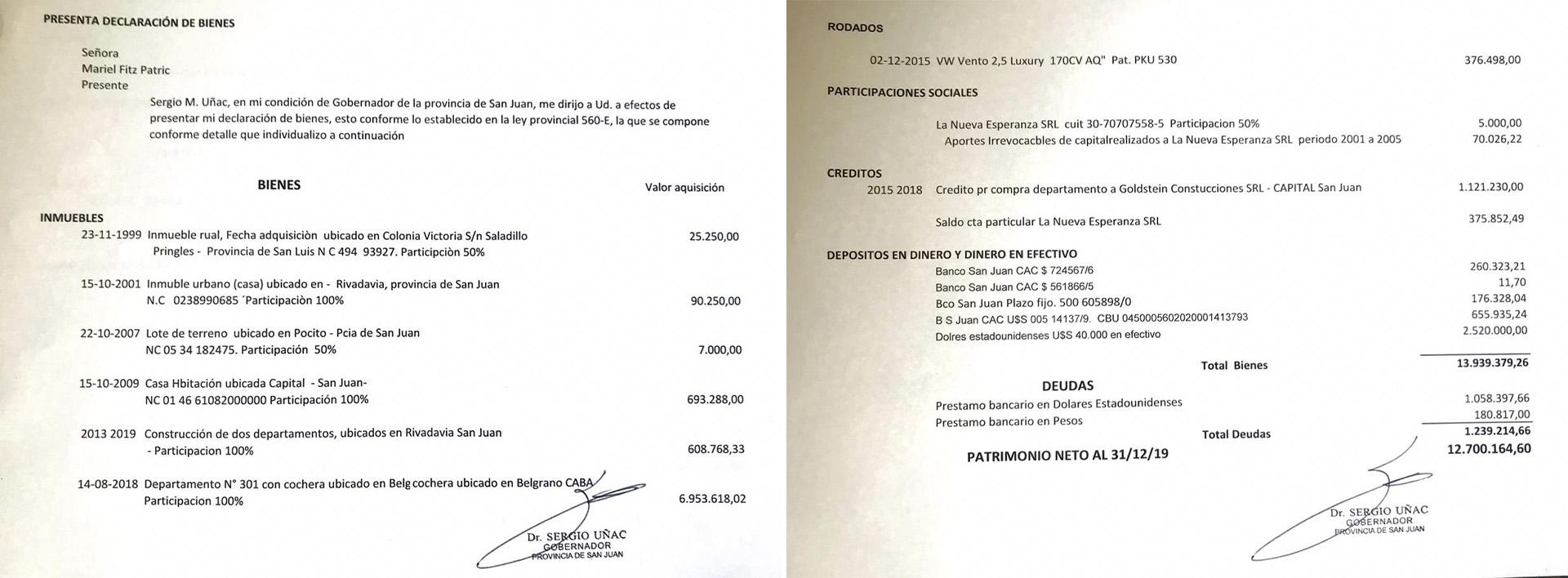 La nota con el detalle de su patrimonio enviada por Uñac a Infobae.