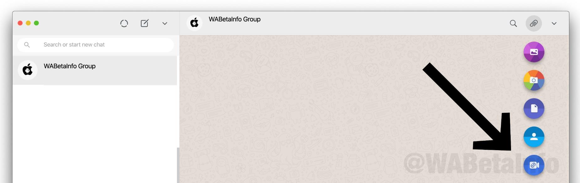 El usuario sería redirigido a Messenger Rooms al presionar en este ícono que se ve en el gráfico difundido por WaBetaInfo.