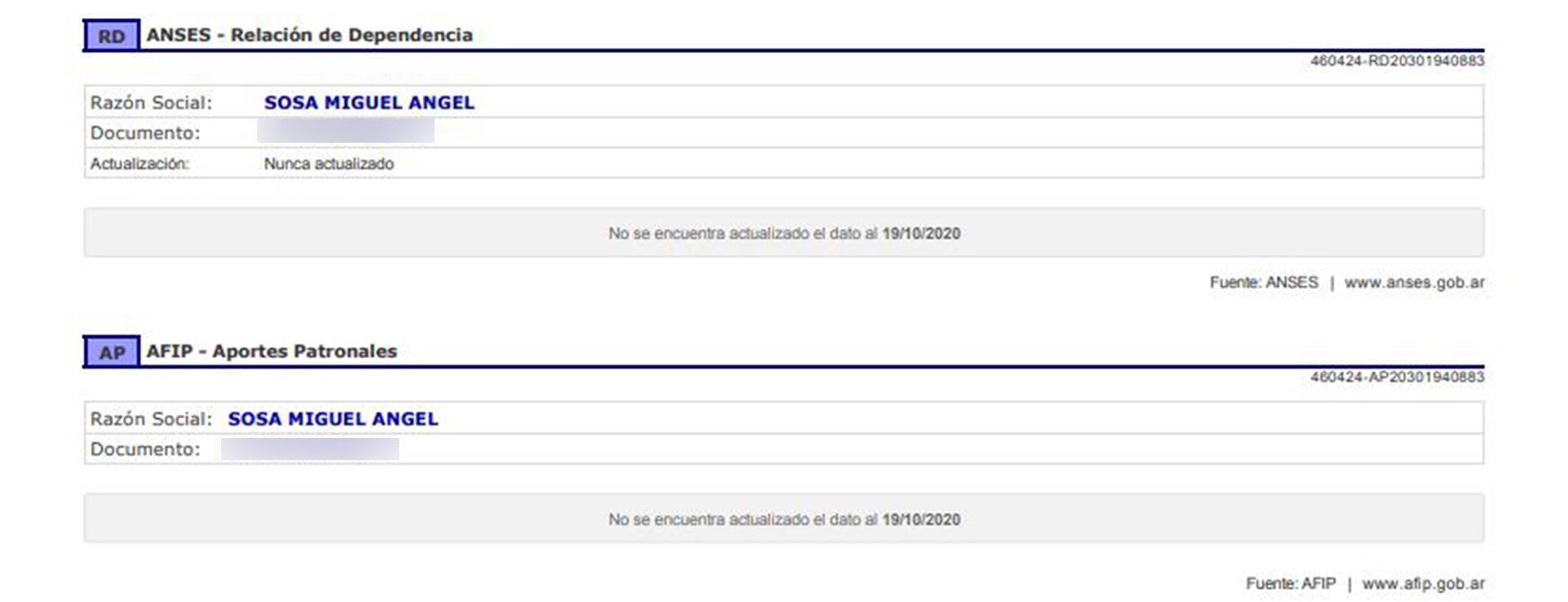 El informe comercial de Miguel Angel Sosa no presenta ningún registro laboral