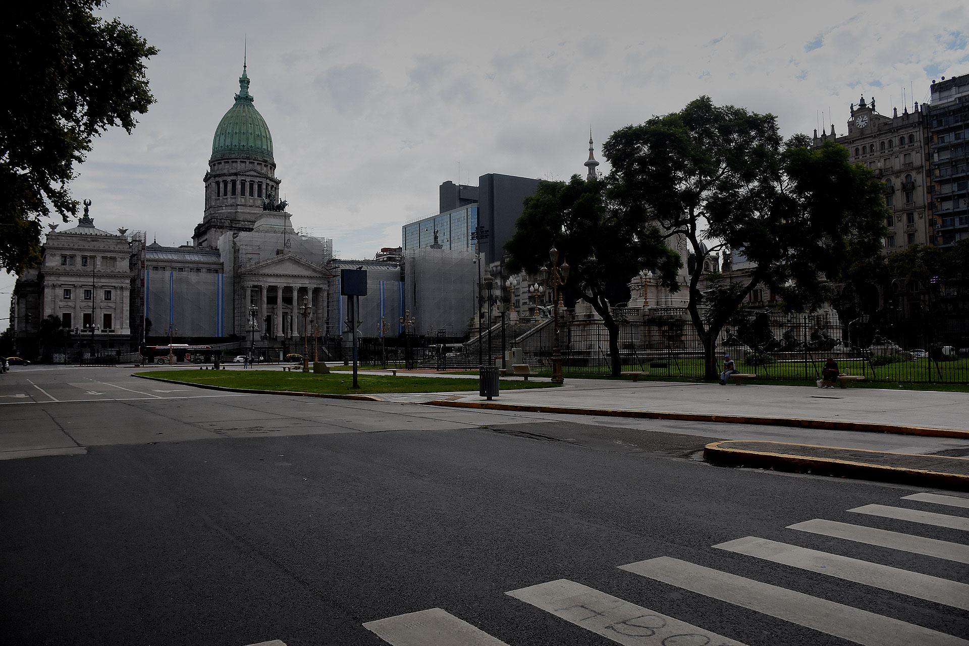 La zona del Congreso, atípicamente despoblada