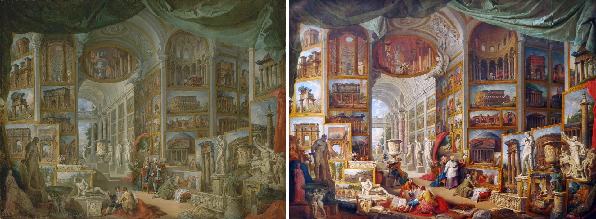 """Las dos versiones siguientes de """"Roma antigua"""": una está en el Met, la otra en el Louvre"""