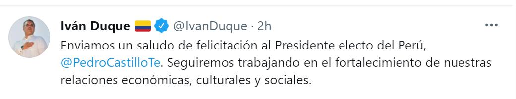 El tweet de Duque para saludar a Castillo