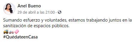 La última publicación en Facebook de la diputada, Anel Bueno (Foto: Facebook/Anel Bueno)