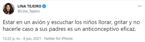 Tomada de Twitter @Lina_Tejeiro