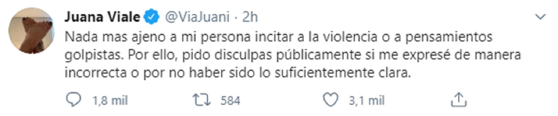 Tuit de Juana Viale donde pide disculpas por sus dichos