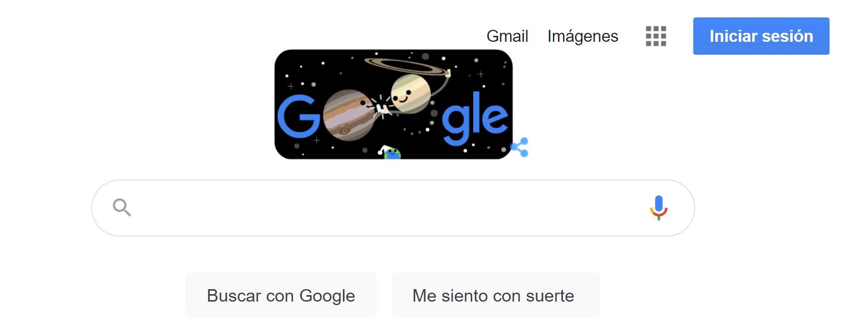 Goodle dedica su doodle a la gra conjunción de Júpiter y Saturno que coincide con el solsticio de verano en el hemisferio Sur