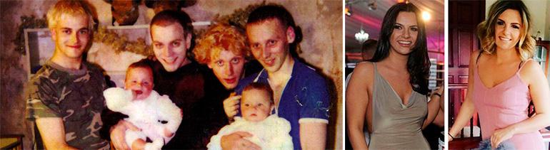 Lauren y Devon Lamb de bebés con el elenco del filme. En la segunda foto las hermanas cómo están hoy