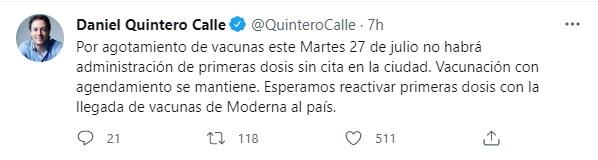 Foto: Twitter Daniel Quintero.