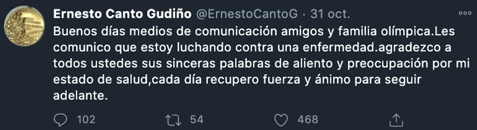 Este fue el twit que compartió el marchista  sobre la donación de sangre Foto: Twitter@ErnestoCantoG)