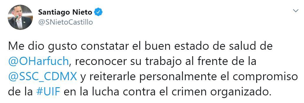 Santiago Nieto reconoció el trabajo del secretario capitalino (Foto: Twitter / @SNietoCastillo)