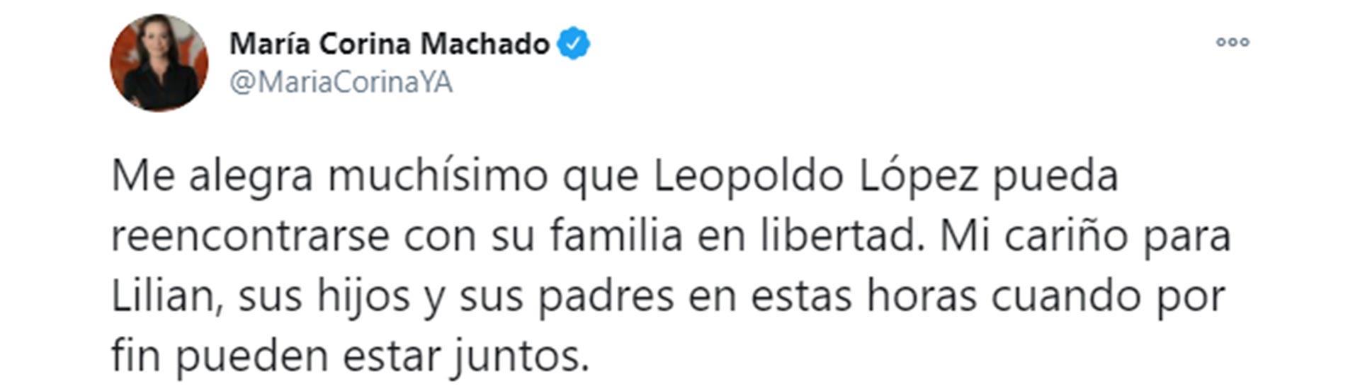 El tuit de María Corina Machado