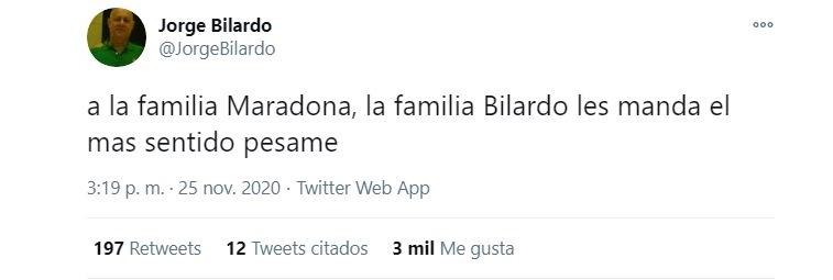 El tuit del hermano de Carlos Bilardo por la muerte de Diego Maradona