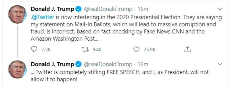 La reacción de Trump contra las autoridades de Twitter