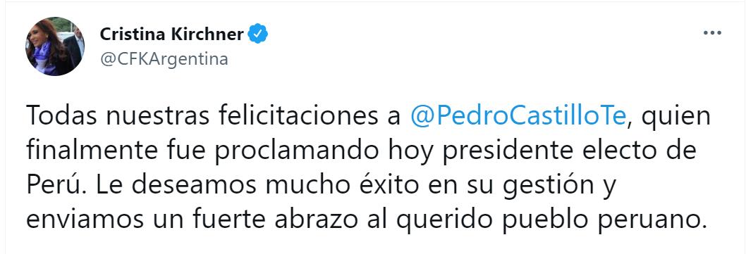 La felicitación de Cristina Fernández a Pedro Castillo, quien se anticipó al presidente argentino, luego de la proclamación oficial del JNE