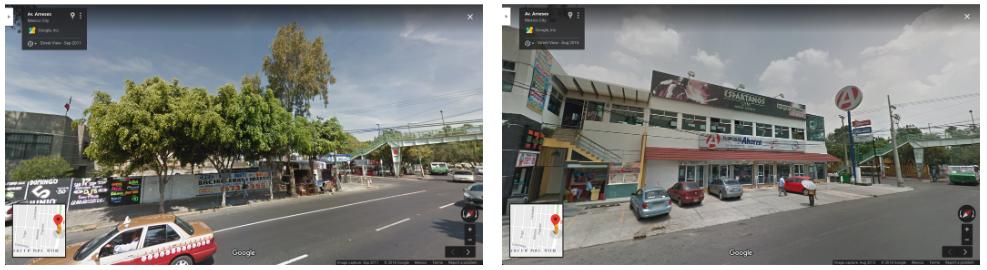 Una imagen de la avenida Arneses, Colonia del Valle Sur, tomada en septiembre de 2011 (Izquierda). La misma dirección en agosto de 2015, luego de la construcción de una sucursal de Farmacias del Ahorro (Derecha) (Foto: Google Maps/Captura de pantalla)