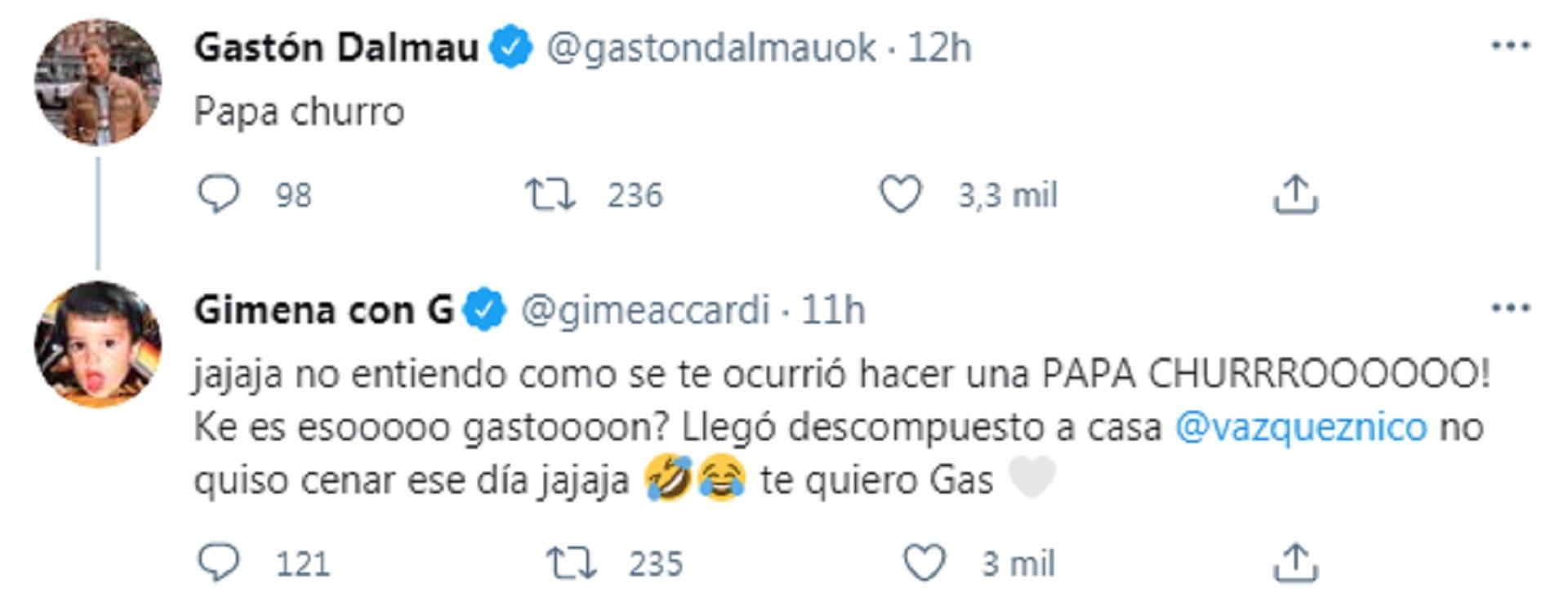 El tuit de Gimena Accardi sobre la reacción de Nico Vázquez al comer el plato de Gastón Dalmau