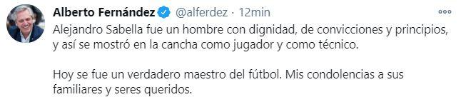 El tuit del presidente Alberto Fernández