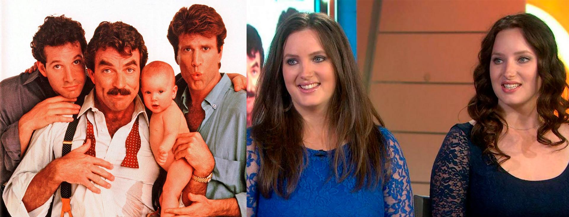 """Lisa y Michelle Blair Ontonovich trabajaron en la famosa comedia """"Tres hombres y un bebé"""" junto a  Tom Selleck, Steve Guttenberg y Ted Danson"""