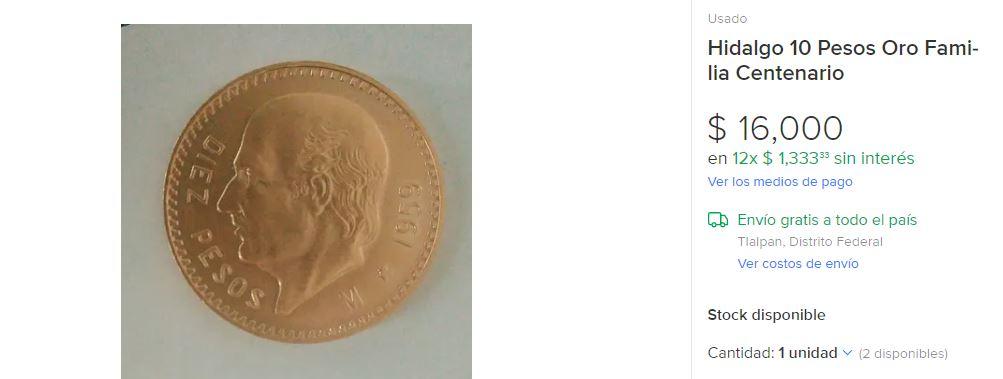 Moneda de oro. (Mercado Libre)