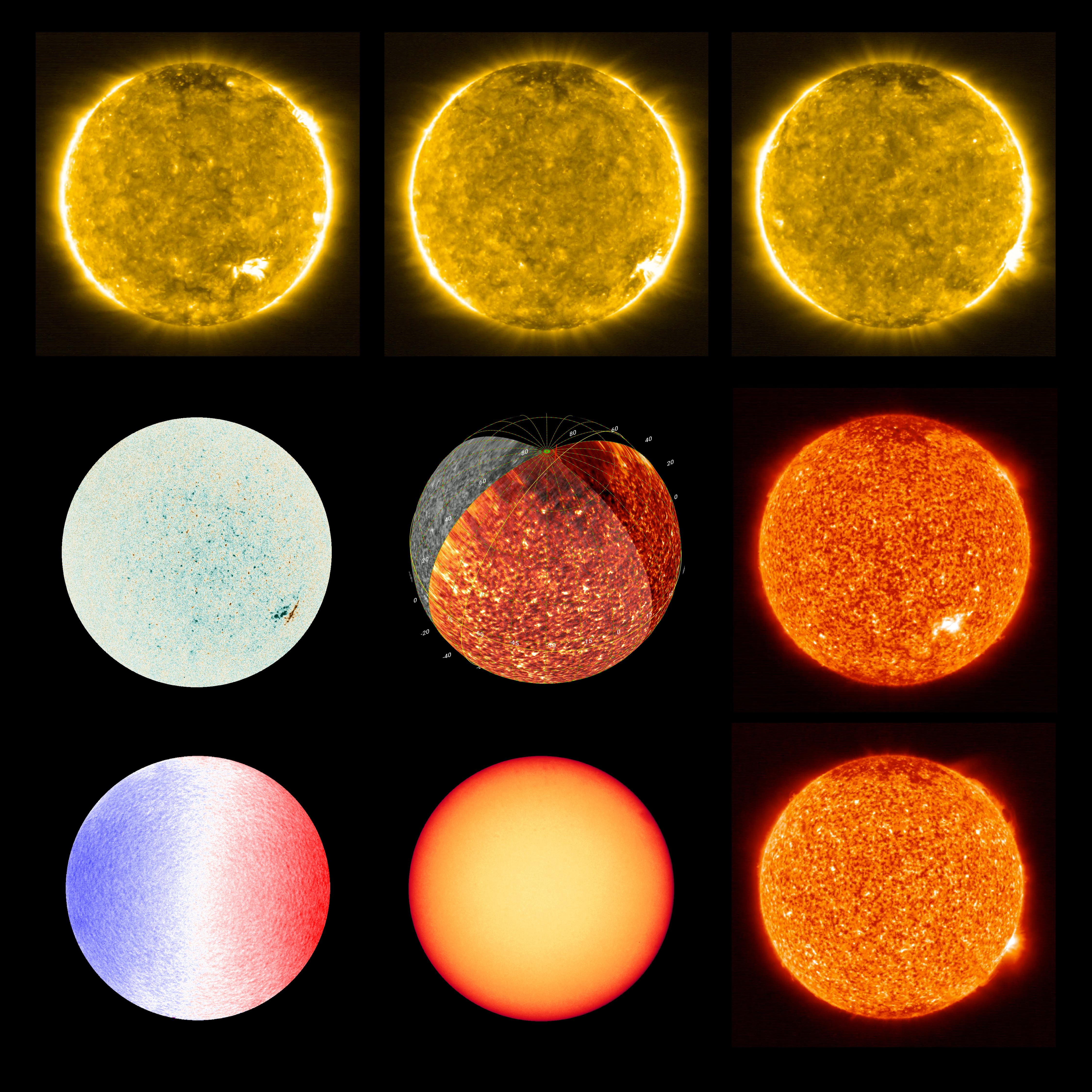 Las imágenes del Sol tomadas con la Cámara Polarimétrica y Heliosísmica (PHI) y la Cámara Ultravioleta Extrema (EUI) de la nave espacial Solar Orbiter (Equipo del Solar Orbiter/Equipo EUI; Equipo PHI/ESA y NASA/ Entrega vía REUTERS)