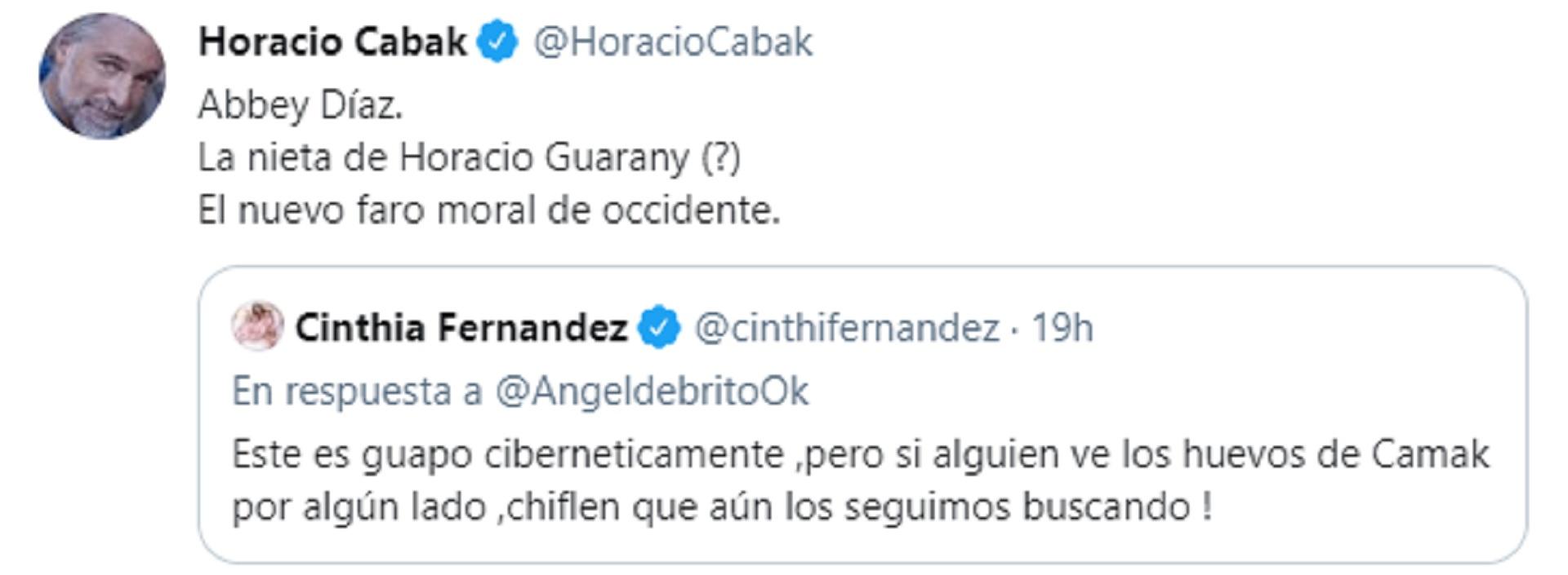El ida y vuelta entre Cinthia Fernández  y Horacio Cabak en las redes sociales