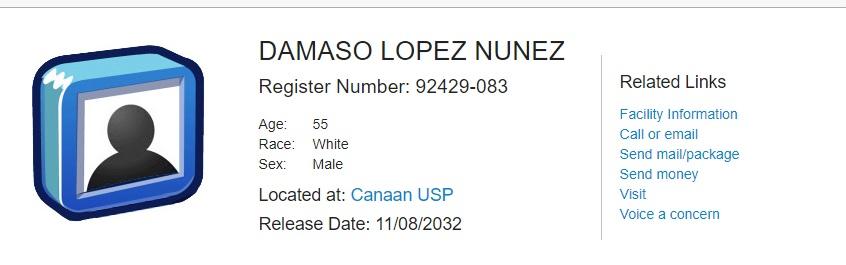 De acuerdo con el BOP, el capo está en una prisión federal de Pensilvania (Foto: Captura de pantalla: BOP)