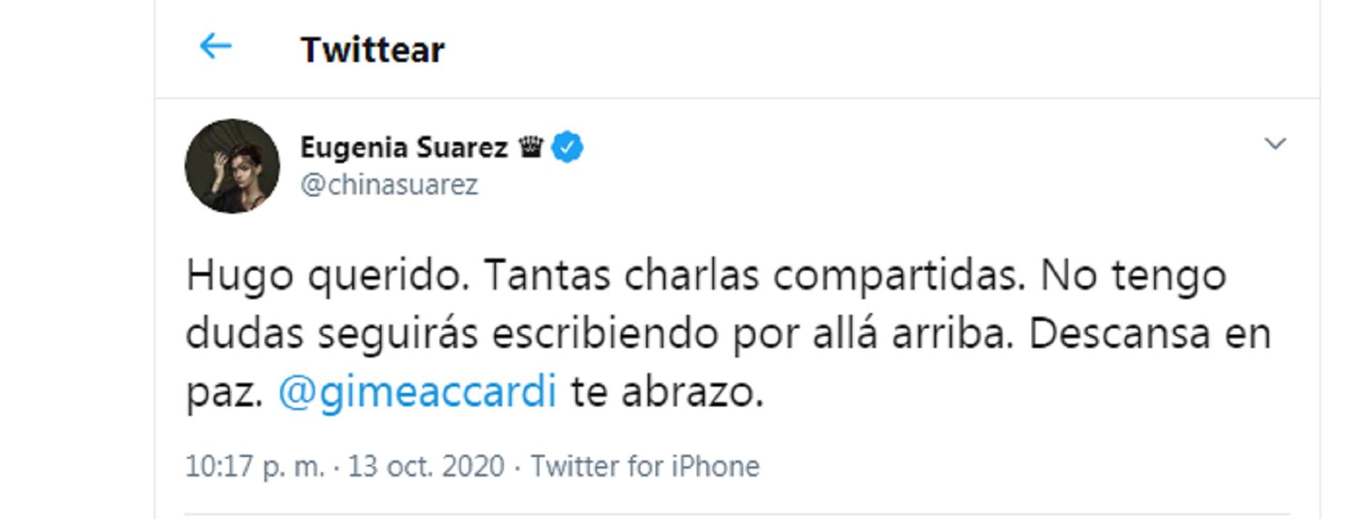 El mensaje de la China Suárez a Gime Accardi por la muerte de su padre