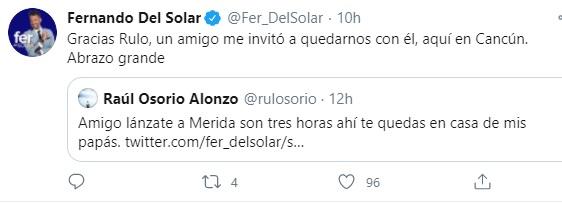 Del Solar informó que se quedó con un amigo en Cancún