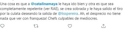 Reacciones a eliminación de Catalina Maya en MasterChef Celebrity. Foto: Twitter