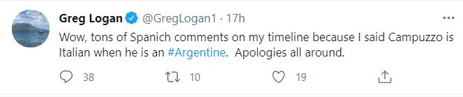 Los pedidos de disculpas, más allá de que insistió con el concepto de los 5-11 pulgadas de altura de Campazzo (el equivalente a 180 centímetros)