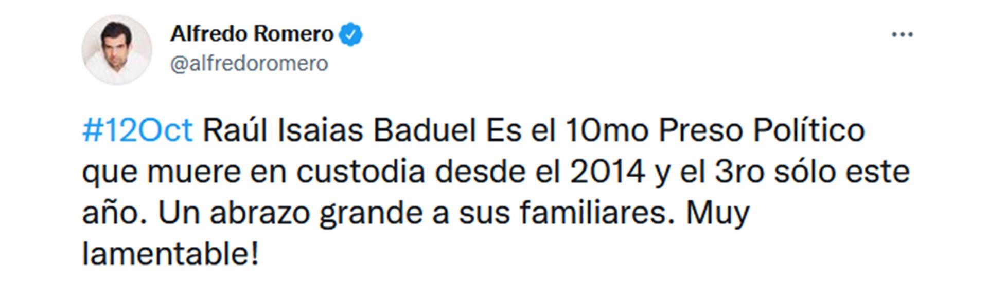 El tuit de Alfredo Romero