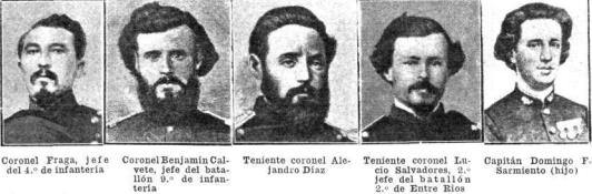 Cinco de los oficiales caídos en esa batalla. La noche anterior habían presentido que morirían en el combate