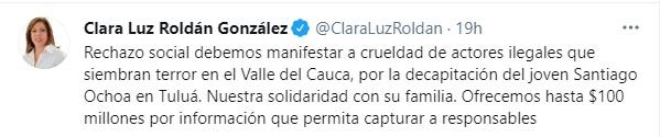 Foto: Twitter Clara Luz Roldán