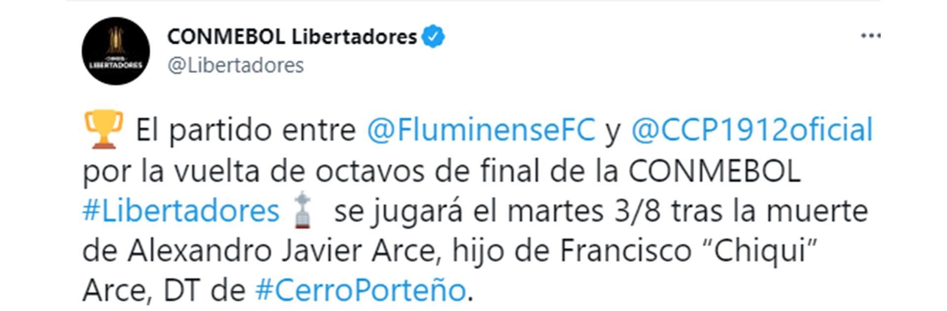 Conmebol decidió aplazar el duelo entre Cerro Porteño y Fluminense por la vuelta de los octavos de final de la Copa Libertadores