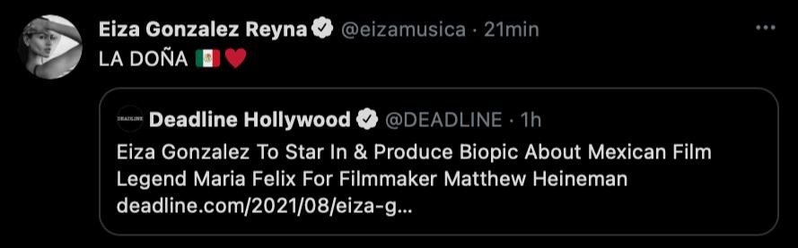 """La actriz se posicionó al respecto al twitter solo con """"LA DOÑA"""", acompañado de un corazón y la bandera mexicana (Foto: captura de pantalla de Twitter @eizamusica)"""