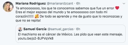 """Mariana Rodríguez calificó al senador Samuel García como """"el mejor esposo del mundo"""" (Foto: Twitter)"""