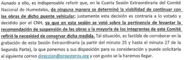 Carta del CNH dirigida al Juzgado Quinto de Distrito en Materia Administrativa de la Ciudad de México aclarando las decisiones tomadas en su Cuarta Sesión Extraordiaria.