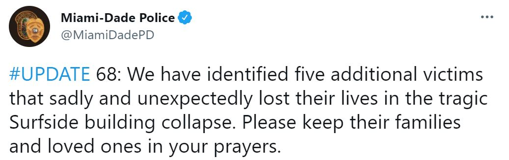 El tuit de la Policía de Miami en el que confirmaron el hallazgo de otros cinco cuerpos, entre los cuales estaba el de la argentina
