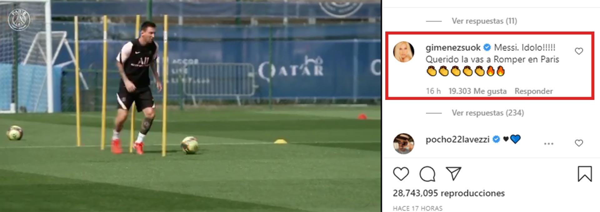 Susana usó Instagram para saludar a Messi por su llegada al PSG