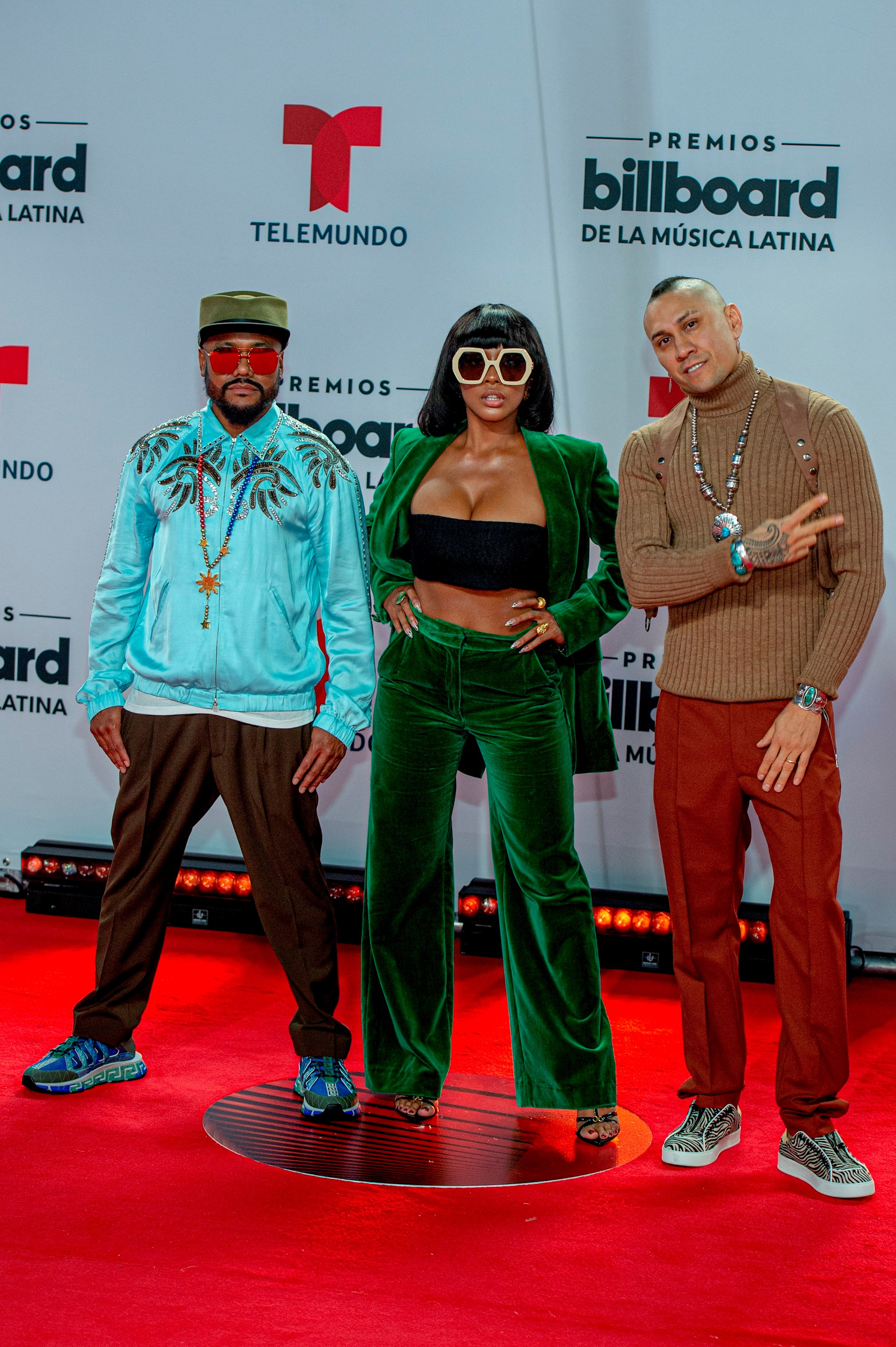 Los integrantes de la banda estadounidense de hip hop/pop, Black Eyed Peas (i-d), will.i.am, J. Rey Soul y Taboo