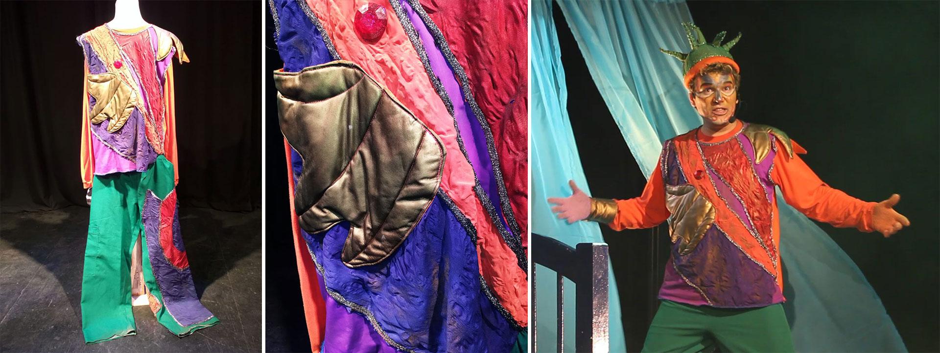 """El traje del personaje """"Gabito Supermágico"""", que encarnó Franco Pozzobón en la obra en homenaje a Gabriel García Márquez. Es de sastrería de alta costura, pintado a mano, bordado y forrado a mano, confeccionado en detalle con piedras y telas brillosas y de diferentes texturas, que definen un traje al mejor estilo del Cirque du Soleil. Es suelto, holgado, en múltiples tonalidades que juegan con las luces en escena, más el brillo que le aportan las piedras y contrapuntos. Tiene un precio de $ 15.000"""