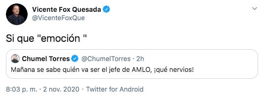Vicente Fox Quesada, expresidente de México, respaldó el tuit del youtuber Chumel Torres (Foto: Twitter)