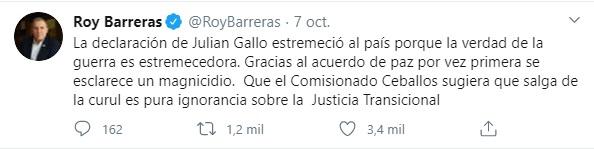 Trino de Roy Barreras sobre la confesión de Carlos Lozada a cerca del asesinato de Álvaro Gómez Hurtado. Foto: Captura de pantalla del Twitter de Roy Barreras.