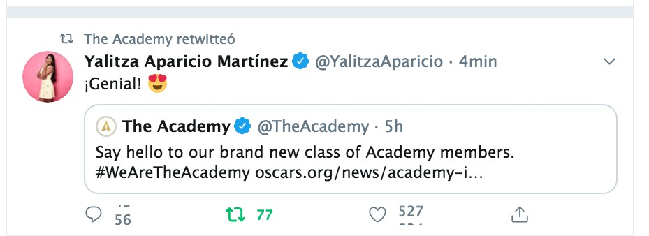El tuit con el que Yalitza celebró su invitación (Foto: Twitter@YalitzaAparicio)