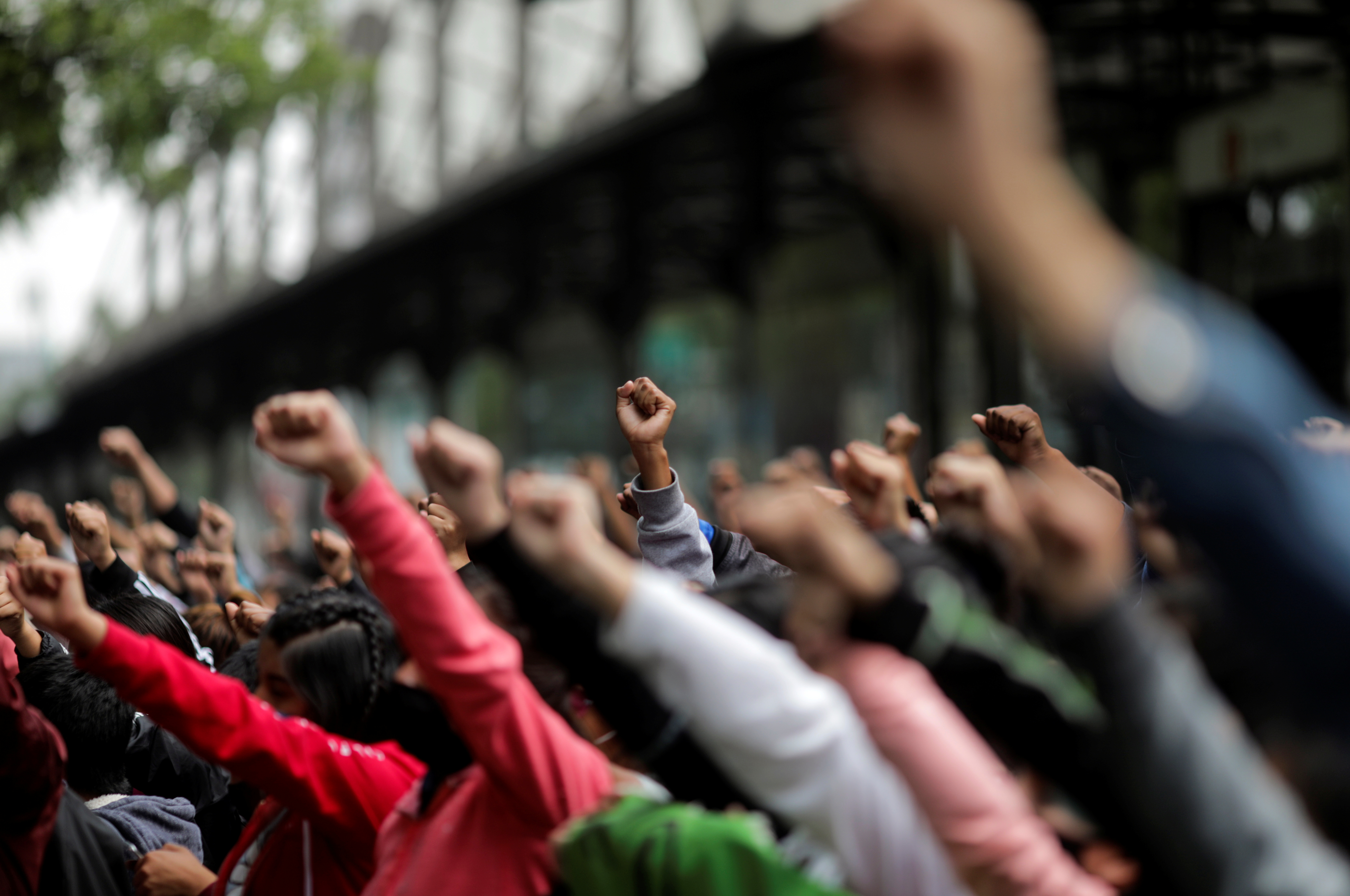 Estudiantes de la Escuela Normal Rural de Ayotzinapa, en la Ciudad de México, México 23 de septiembre de 2020.